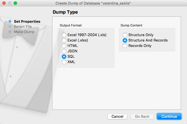 Create Dump Dialog Help [Valentina Database Wiki v8]
