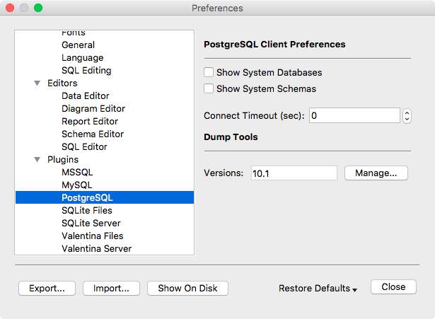 Preferences Dialog - PostgreSQL